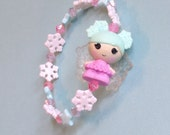Sweater Snowstorm - Lalaloopsy Snow Fairy Doll Stretch Bracelet with Snowflakes, Stars, and Pastel Crystal Beads