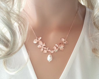 Rose Gold Pearl Necklace  Orchid Necklace, Flower Necklace, Wedding, Bridesmaid gifts, Mother, Sister, Wife, Pearl, Bridesmaid Jewelry ,