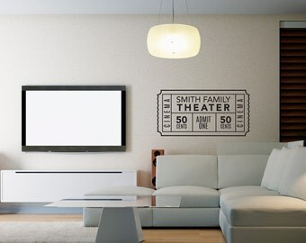 Personalized Family Movie Theater Ticket Decal - Wall Decal Custom Vinyl Art Stickers for Interiors, Homes, Living Rooms, Home Theaters