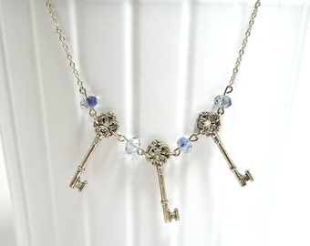 Key Necklace with Smoky Crystal Beads