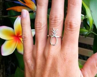 Pineapple Ring, Hammered Pineapple Ring, pineapple outline ring, Sterling Silver Pineapple Ring, 14K Gold Fill, Pineapple Jewelry