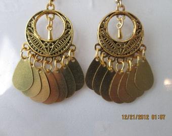 Gold Tone Chandelier Earrings with Gold Tone Teardrop Charm Earrings