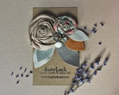 Rustic Leather Antique Button Hair Clip // Recycled Leather Floral Rose Hair Clip // Ready to Ship Hair Clip
