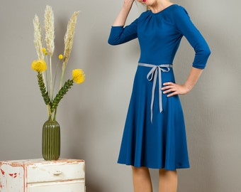 "Dress ""Elisa"", with a round skirt and little falts in jeans blue"