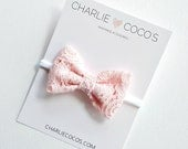 Baby/Girls Pink Lace Bow Headband, Light Pink Lace Hair Bow Clip by charliecocos