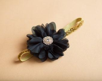 Baby Girl Black Gold Glitter Headband Newborn Baby Girl Accessory Black Flower and Rhinestone Photo Prop