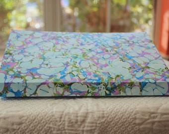 Spring Leaves Handmade Blank Book Journal Diary Notebook Sketchbook Hand Bound Marbled Unlined, Travel Journal, Art Journal, Graduation