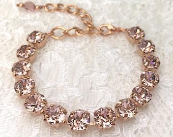 Blush Bracelet Blush Pink Rose Gold Bracelet Pink Wedding Pink Bridesmaids Pink Blush Swarovski Crystal Morganite Pink Blush Bridal Bracelet