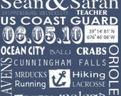 Family Name Sign, 20x30  Custom Canvas, Nautical or Beach theme -Military family story canvas word art