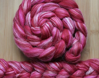 "Merino Silk 'GLISTEN Roving' in ""Young Heart"" colorway - Red, pink and white blend - Spinning Felting Braid Fiber"