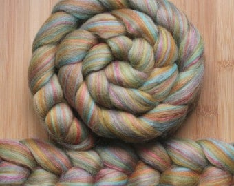 "Merino Bamboo 'ZEN Roving' in ""Groovie Fair"" colorway - Green, pink, orange, blue blend - Spinning Braid Fiber"