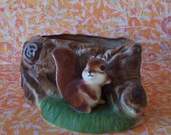 Cute Vintage Ceramic Squirrel by a Stump Planter Fred Kaye Ceramic