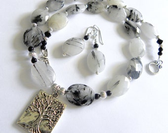 Black and white tree of life necklace set, gemstone necklace, rutilated quartz necklace, silver tree of life charm