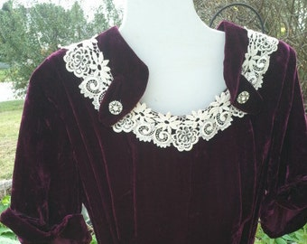 Vintage Hipster 60s Great Gatsby inspired vintage velvet dress size 12 free domestic shipping