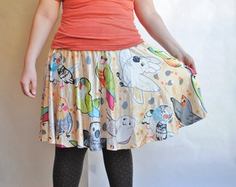 Pet Birds Skater Skirt