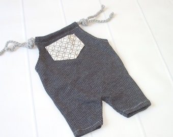 In the Loop - newborn romper in charcoal grey ribbed knit with cream and grey loop pocket (RTS)