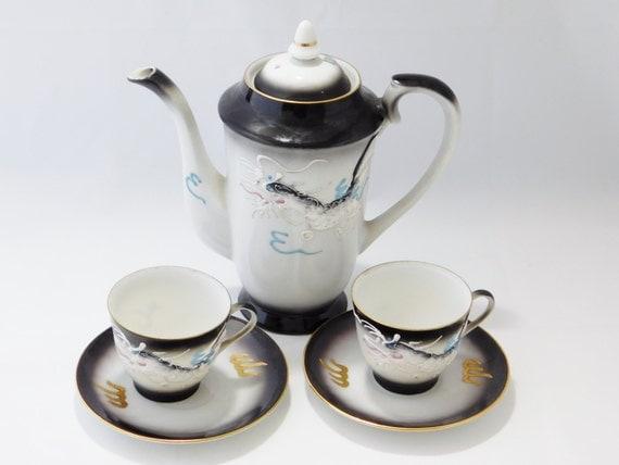 Dragonware Moriage Tea Pot And Tea Cups Porcelain By