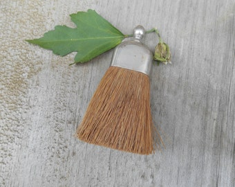 Antique Small Clothes Brush Miniature Whisk Broom with Silver Metal Handle Clothing Brush Butler's Brush