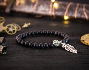 6mm - Matte black onyx beaded bracelet w/ feather, made to order gemstone bracelet, mens beaded bracelet, womens bracelet