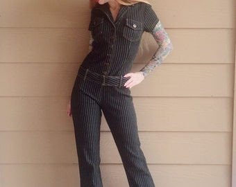 Retro Black and White Pinstripe Denim Jumpsuit // Women's size Small S