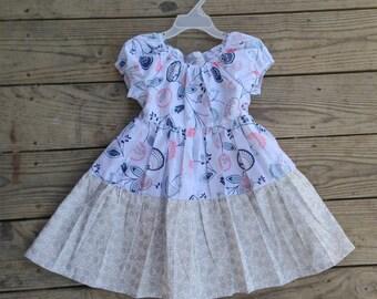 3T girls dress pastel summer dress girls summer dress birthday dress 3T modest dress peasant dress children's clothing cotton dress