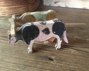 French Folk Art Wood Cows Hand Painted Antique Wooden Pull Toy