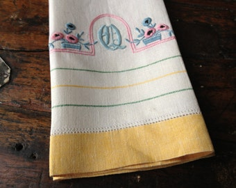 Embroidered Linen Tea Towel, Vintage French Heirloom Colorful Floral, Decorative Towel, Monogrammed