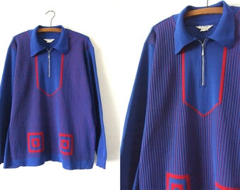 MOD Abstract Long Sweater - Twiggy Style Tunic Sweater Dress - Oversize Half Zip Knit Collared Jumper - Womens XL