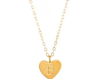 Gold Filled Initial Heart Necklace