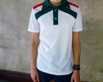 Mens Red White and Green Soccer Polo Shirt, size small mens preppy clothes, athletic clothing