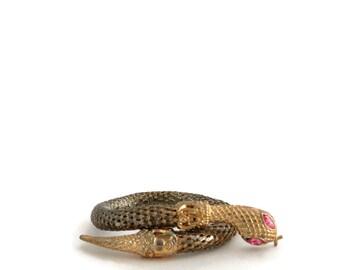 Snake Mesh Bracelet Wrap Around Serpent Bangle w/Pink Rhinestone Eyes
