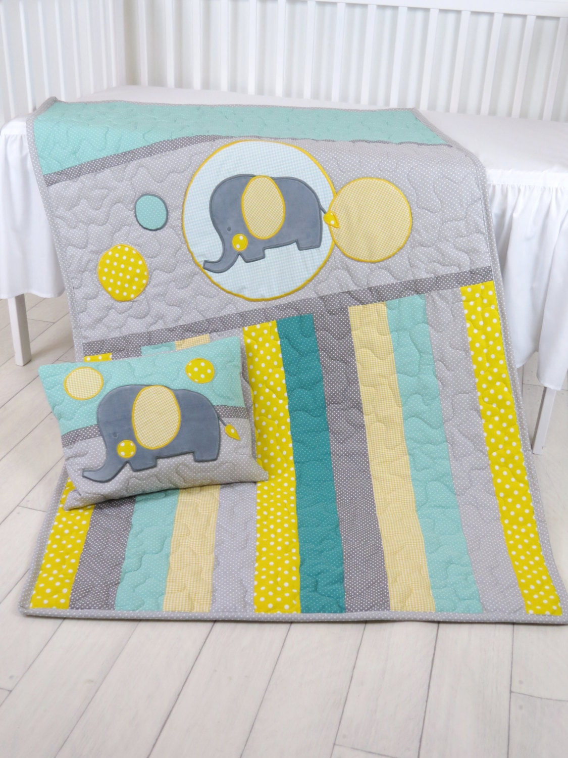 Baby Blanket Teal Gray Crib Quilt Elephant Bedding For Baby