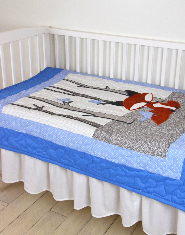 fox blanket woodland nursery quilt baby boy quilt boy crib. Black Bedroom Furniture Sets. Home Design Ideas