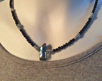 Quartz Point Obsidian Bead Necklace Titanium Finish Tibetan Silver Daisy and Spiral Spacers Unisex Gift