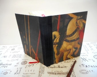 "Handmade blank book with Uccello painting: ""Battle Horse"". Journal. Travel Diary. Writing. Sketching."