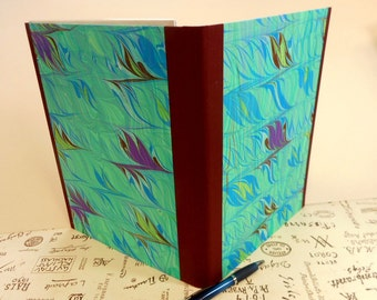 """Hand-marbled Portfolio: Aquas, purples and more. """"Birds Fly"""". For School or lecture notes, writing, working drafts, meetings."""