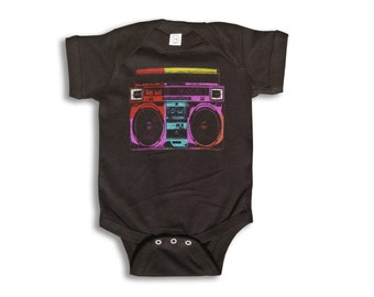 Baby One Piece - 80's Boombox - Baby Clothes - 100% cotton Short Sleeve 6 month to 24 Months - Baby Boy - Baby Girl