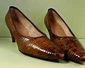 1960s Crocodile Leather High Heel Pumps - Classic Womens High Heel - 8 1/2