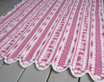 Vintage Crocheted Afghan Pink White