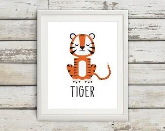 Tiger, Tiger Tail, Tiger Wall Art, Tiger Print, Tiger Poster, Tiger Kids, Nursery, Nursery Wall Art, Nursery Decor, Tiger Nursery, Safari