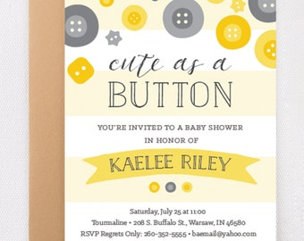 Cute as a Button- Baby Shower Invitation