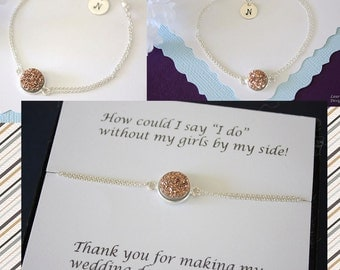 Personalized Bridesmaid BraceletCopper Druzy, Bridesmaid Gift, Initial Jewelry, Sterling Silver, Thank You Card, Rose Gold, Drusy