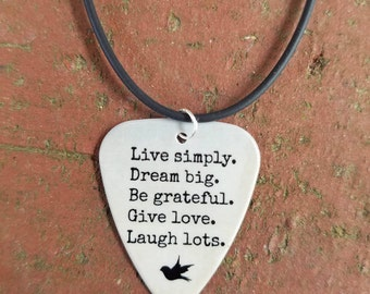 Live Simply Dream Big Be Grateful Give Love Laugh Lots necklace keychain guitar pick girl guy friend jewelry country Christmas Birthday gift