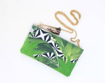 Tropical shoulder bag. Natural leather purse. Statement purse. Clutch bag. Wedding bag. Bridesmaid clutch. Palm print. Leather bag. /FUN 11