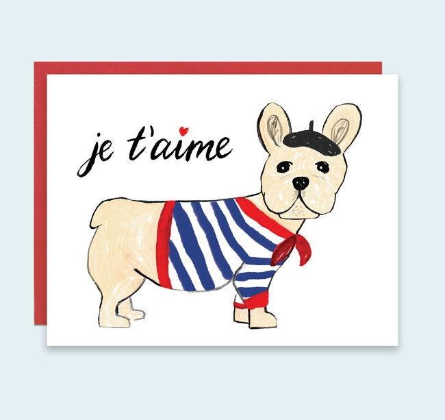 Dog Valentines Card Je taime Valentines Day Card – French Valentines Cards