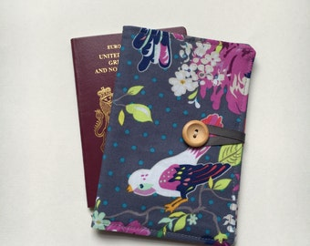 Passport cover case vintage style birdie and blooms bird print fabric travel wallet
