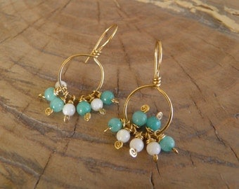 "Earrings...""Sand and Sea"" wire wrapped and hammered brass earrings"