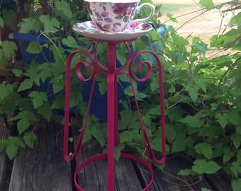 Pink Scrolled Iron Angel Bird Feeder w/Tea Cup - Pink Garden Patio Porch Decor - Angel Yard Art - Birthday