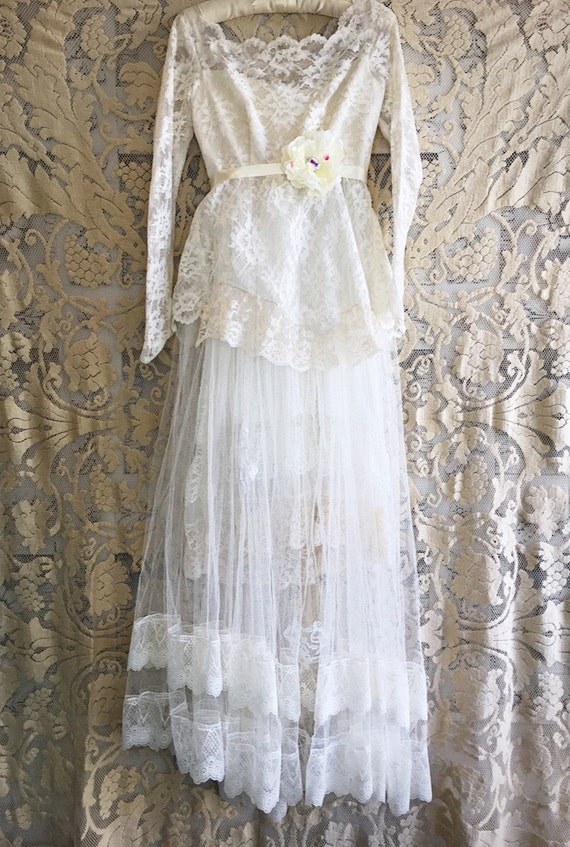 Soft white taupe vintage sheer lace tulle wedding dress by for Taupe lace wedding dress