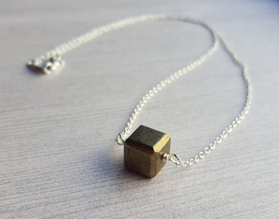 Pyrite Cube Necklace Empath Energy Shield by ...
